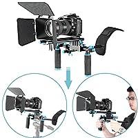 Nuevo DSLR Movie Video Making Rig Set Kit de sistema para videocámara o cámara DSLR, como Canon Nikon Sony Pentax Fujifilm Panasonic, incluye: (1) Montaje en hombro + (1) Sistema de varilla de riel de 15 mm + (1) Caja mate