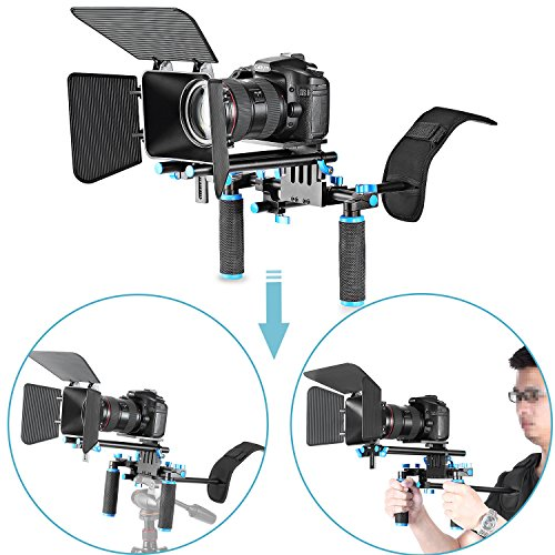 Neewer DSLR Movie Video Making Rig Set System Kit for Camcorder or DSLR Camera Such as Canon Nikon Sony Pentax Fujifilm Panasonic,Include:(1) Shoulder Mount+(1) 15mm Rail Rod System+(1) Matte Box (Best Cheap Camcorder For Filmmaking)