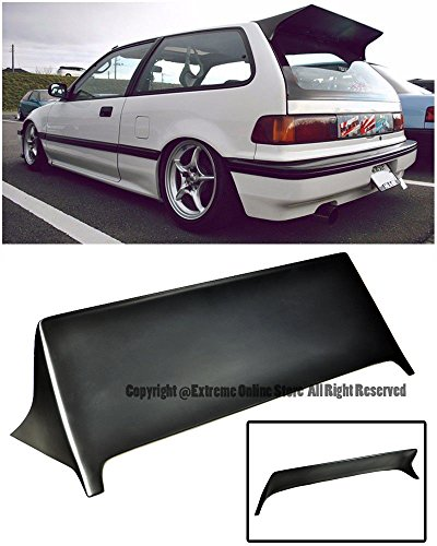 For 88-91 Honda Civic EF9 3Dr Hatchback J's Racing Style Brake Light Deleted Rear Top Roof Lip Wing Spoiler 1988 1989 1990 1991 88 89 90 91 ()