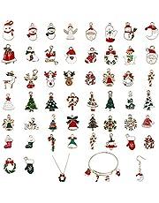 YiYLunneo 50pcs Christmas Pendant Charm Mini Christmas Tree Ornaments Set, Santa Clause, Snowman Ornaments Resin Charm Xmas Decoration Ornament DIY Craft, Random Style