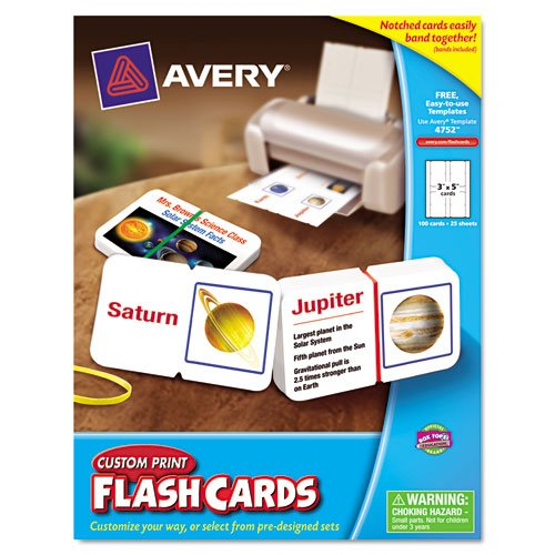 Avery AVE04752 Flash Cards Custom Print (Avery Custom Print Flash Cards compare prices)