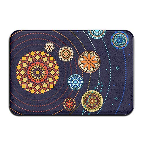 Colorful Floral Style Planets Home Door Mat Super Absorbent Non Slip Front Floor Mat,Soft Coral Memory Foam Carpet Bathroom Rubber Entrance Rugs for Indoor Outdoor