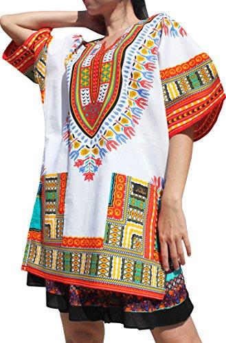 New Womens Long Shorts (Raan Pah Muang RaanPahMuang Branded Dashiki Short Mini Dress Summer Long Cut Shirt African Whites, Small, New White Red)