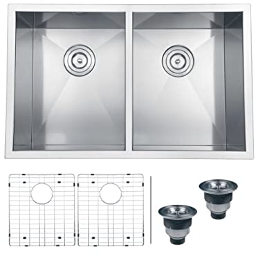 Ruvati RVH7350 Undermount 16 Gauge Kitchen Sink Double Bowl, 30, Stainless Steel