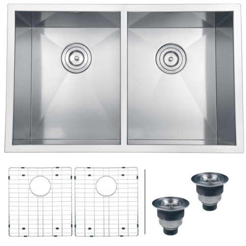 Ruvati RVH7350 Undermount 16 Gauge Kitchen Sink Double Bowl,