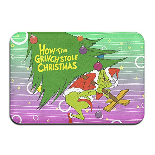 KOPDSE The Grinch Stole Christmas Indoor/Outdoor Easy Clean Non Slip Backing Entry Way Doormat for Patio, Front Door, All Weather Exterior Doors, 23.6