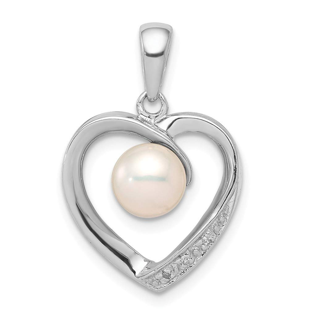 925 Sterling Silver Rhodium Polished 6mm Freshwater Cultured Pearl and Diamond Heart Pendant