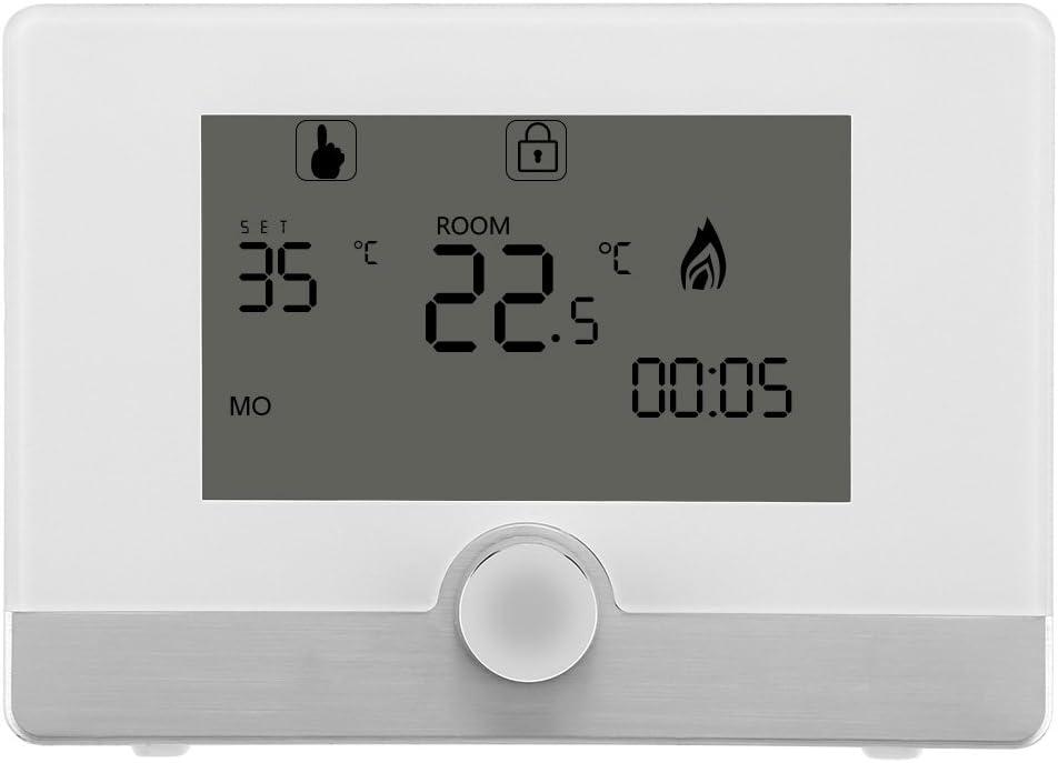 Cafopgrill Termostato de Ambiente Digital programable para Sistema de calefacción de Caldera de Gas suspendido 5A(Blanco)