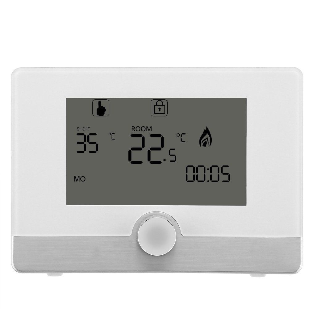 DeWin Water Heating Thermostat Digital Programmable Thermostat Temperature Controller, for Wall-Hung Boiler Heating System, 2 Colors (Color : White)