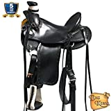 HILASON 15 16 17 in Western Horse Wade Saddle Leather Ranch Roping Black