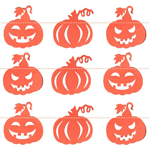 Halloween Home Wall Decor Paper Pumpkin Bunting Banners Garlands Vintage Halloween Backdrop Decorations Party Supplies, 13ft