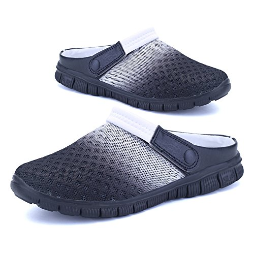 DULEE - Sandalias de vestir para hombre negro y blanco