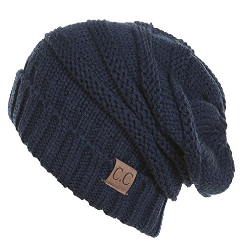 Funky Junque's C.C. Trendy Warm Oversized Chunky Soft Oversized Cable Knit Slouchy Beanie - Navy