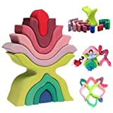 Grimm's ''Little Flower'' Wooden Puzzle Stacker - Large Elements Nesting/Stacking Sculptural Blocks