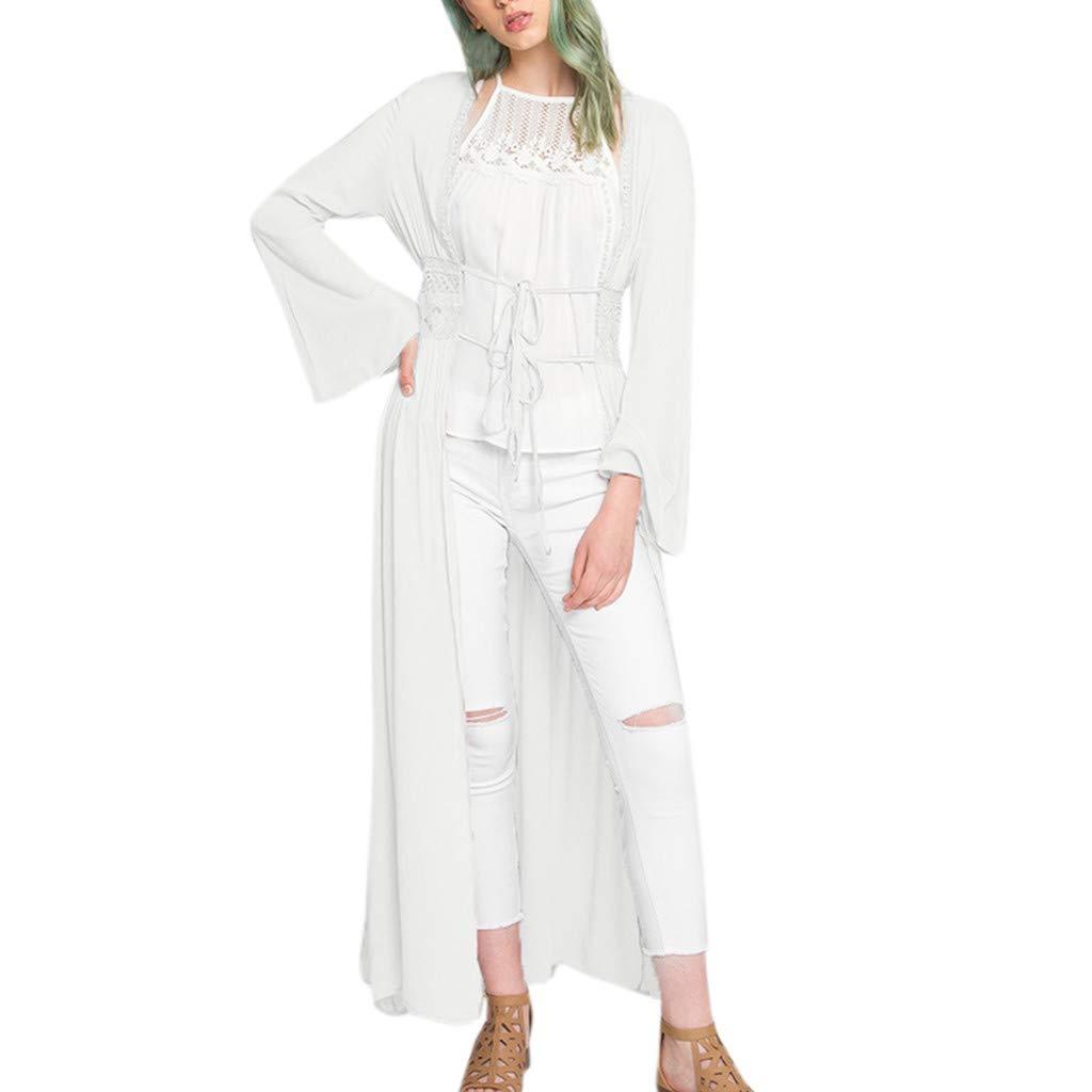 Hanomes Cardigan Femme Long en Maille Manches Longues Chemisier Gilets Lâche Mousseline de Soie Outwear