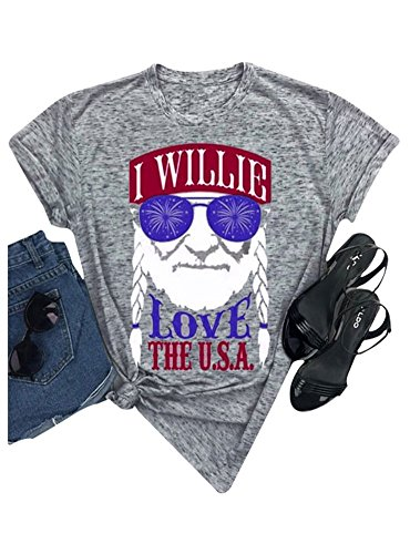 Women I Willie Love The USA & Have A Willie Nice Day Short Sleeve T-Shirts Tops (Gray, XX-Large)