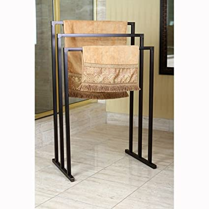 Amazoncom 3 Tier Iron Towel Rack Free Standing Towel Rack Oil