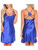 Ekouaer Silky Satin Chemise Nightgown Sexy Lingerie For Women,Small,Blue