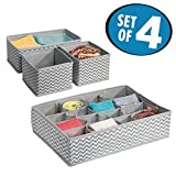 mDesign Closet Storage Unit Accessory Set for Socks, Belts, Jewelry - Set of 4, Gray/Cream