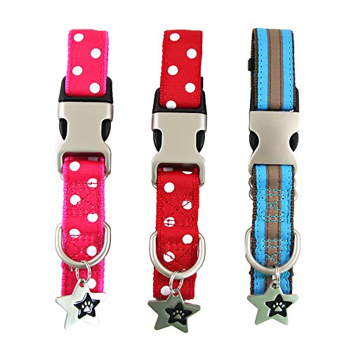Cute Dog Collar | Large Dog Collar - Red & Pink Polka Dots, Blue Stripes - Adjustable Size | Dog Collars for Large Dogs | Soft Nylon Dog Ribbon Collar, Medium, Large | Free Dog ID Tag | Paw Dog Collar