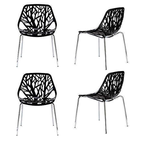 Dining Set Fancy Bistro (Fancy Dining Chairs Set of Four Black Abstract Plastic Metal Chrome Indoor Accent Modern Kitchen Armless Outdoor Bistro Pub Decorative Large Comfortable Stackable & eBook by JEFSHOP.)