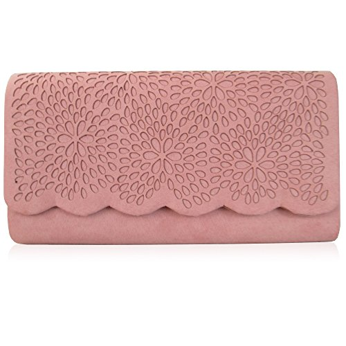 Party Chain Clutch Evening Xardi Long with London Girls Faux Bridesmaid Women 120 Vintage Bag Out Prom Wedding Cut Ladies Handbag cm Blush Floral Designer Wear Suede For I4awxqrfH4