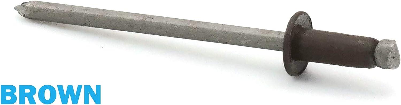 1//8 x 3//16 Grip 100, Hartford Green Colored Pop Rivets 1//8 Diameter #4 304 Stainless Steel Painted Blind Rivets 4-3