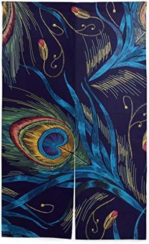 NIKIVIVI 間仕切りカーテン,おしゃれなテンプレートデザイン服尾孔雀,パーソナライズされたカスタマイズ パーティションキッチンレストランホール出口部屋装飾 洗練されたシンプルなスタイル
