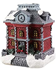 Christmas Glowing House Christmas Scene Village Cottage Town with LED Light Durable Resin Crafts for Living Room Bedroom Office Christmas Decoration