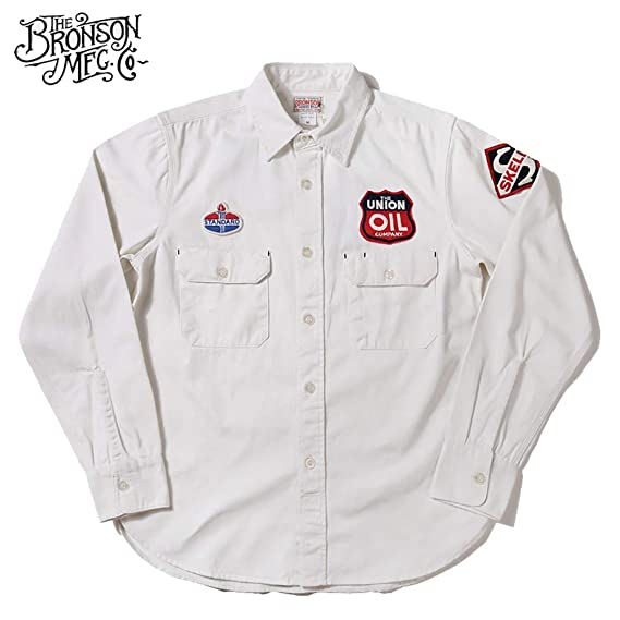 1950s Mens Shirts | Retro Bowling Shirts, Vintage Hawaiian Shirts Bronson Mens 9OZ Medium Weight Old Gas Station Winchman Skelly Service Long Sleeves Shirt $49.99 AT vintagedancer.com