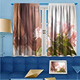 SCOCICI1588 Flower Design Foil Printed Rod Pocket Thermal Insulated Window Panels Female sex For Kidsroom, W104'' x L63'' Pair