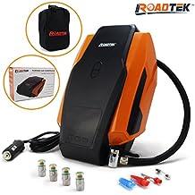 Portable Air Compressor Digital Tire Inflator Pump, 3 Adaptors for Inflatables, 1 Extra Fuse, Carry Bag + 4 Self Monitoring Valve Caps
