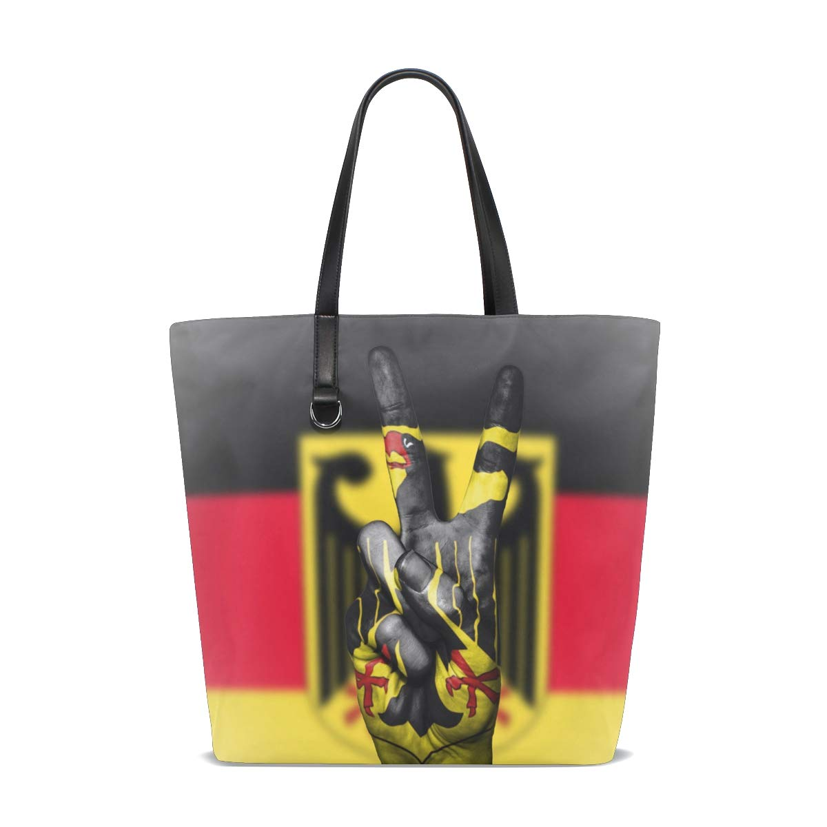 MUOOUM Germany Coat Of Arms Peace Hand Handbag Tote Shoulder Bag Casual Purse for Women Girls