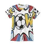 WIHVE Short Sleeve T-Shirt Wow Soccer Ball O-Neck Tops for Women