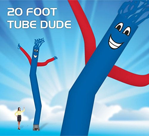 EasyGoProducts 20 Foot Fly Guy - Inflatable Dancer Tube Man - Sky Puppet Dancing Balloon. Fits all 18 inch fans. Blue Body Re