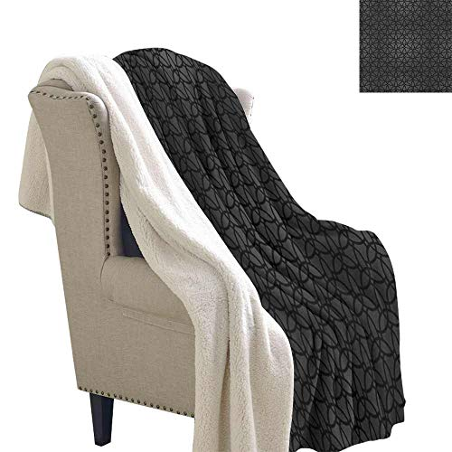 Dark Grey Winter Quilt Geometric Pattern with Oriental Elements Moroccan Style Curves Lattice Grid Reversible Blanket for Bed and Couch Black Dimgrey W59 x ()