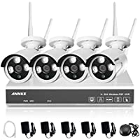 ANNKE 4-Channel 720p HD Wireless Security Camera System and (4) 1.3MP Outdoor Fixed IP Cameras,66FT Night Vision, NO HDD