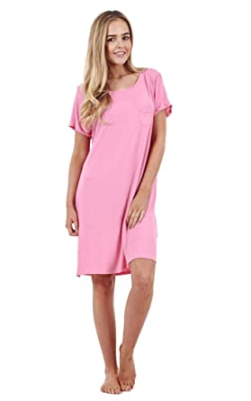 Ladies Plain Soft Nightdress Womens Short Sleeve Cami Nightie - Pink - 12 9a18b787d