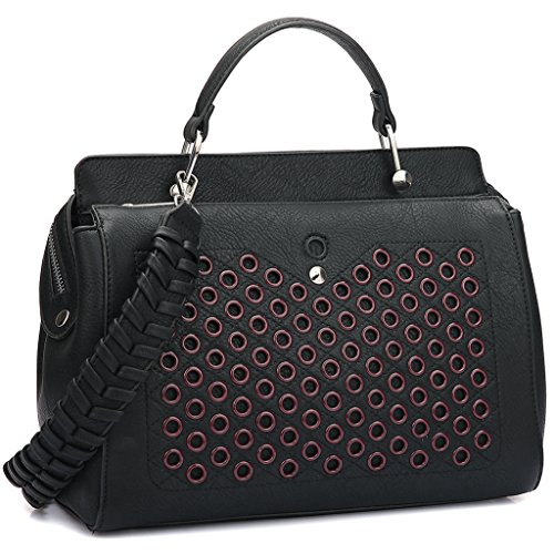 Double Zip Top Handle Satchel Handbag Designer Perforated Purse w/ Weave Shoulder Strap Black