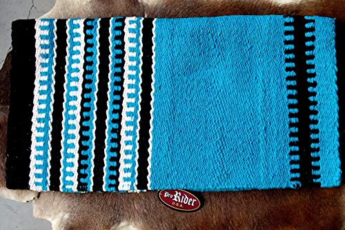 PRORIDER 34x36 Horse Wool Western Show Trail Saddle Blanket Rodeo Pad Rug Turquoise 36280
