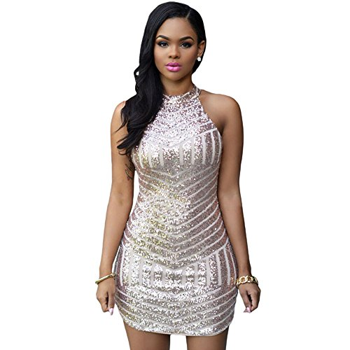 RedLife Women's Sexy Sparkling Sequin Sleeveless Bodycon Stretchy Mini Party Dress (Large, Rose Gold)