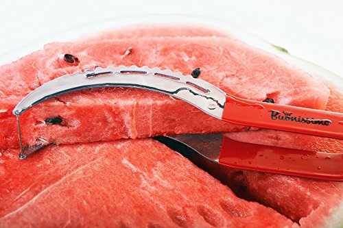 Watermelon Slicer by Buonissimo – Stainless Steel Corer, Cutter & Server Knife For Watermelons, Cantaloupes, Honeydews – Multifunctional Kitchen Gadget For Fruit Salads, Serving Cake & Baked Treats