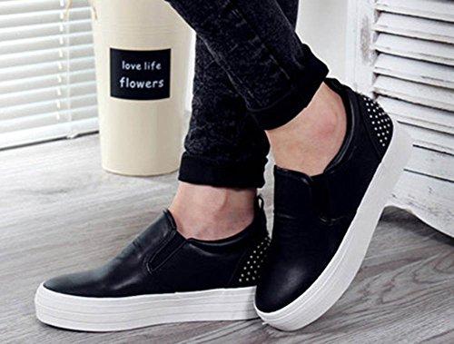 Aisun Kvinna Eleganta Dubbade Rund Tå Hiss Dold Kil Plattform Sneakers Halka På Dagdrivare Skor Svarta