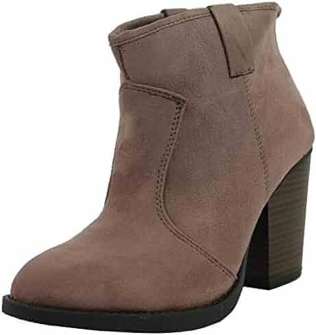 22d025aa36f6 SODA Women's Albert Faux Suede Cowboy Pull-Tab Stacked Heels Ankle Booties,  Black,