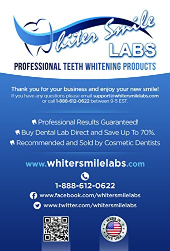 5 XL 38% Dentist Recommended High Intensity Teeth Whitening Gel Pro Dental Lab Direct! Highest Quality Carbamide Peroxide, Sensitivity Free. Sold by Dentists! Whiter Smile Labs FASTEST WHITENING RESULTS, 2-3 Full, 7 Day Treatment Cycles. FRESHLY MADE IN A USA, FDA Compliant, Dental Lab. NOT Cheap Imitation, Overseas Bleaching Gel. 100% Full Satisfaction Guarantee. With NEW Style Precision Gel Applicator Tip! Takes The Guesswork Out Of How Much Gel To Apply! Pharmaceutical Grade Syringes. FAST FREE SHIPPING