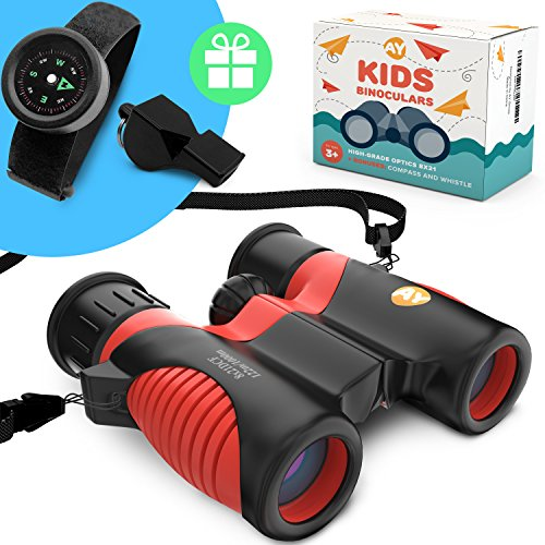 Real Binoculars for Kids high Resolution 8x21 with Adjustable Neck Strap - Includes Kids Compass Bracelet and Whistle - Great gift for girls and boys 3 - 14 years old