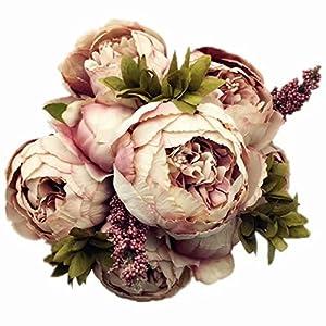 Celine lin Vintage Artificial Peony Silk Flowers Bouquets Floral Home Party Wedding Decoration DIY,Pale Mauve 1