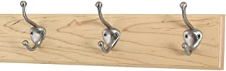"product image for PegandRail Maple Coat Rack with Satin Nickel Hat and Coat Style Hooks (Natural, 15"" x 3.5"" with 3 Hooks)"