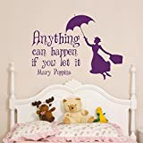 trfhjh Quotes Wall Sticker Home Art Mary Poppins Inspirational Quote Wall Sticker Vinyl Art Poster Decorative Wall Picture Living Room Home DecorationFor Bedroom Living Room Kids Room