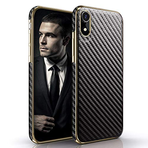 LOHASIC iPhone XR Case, Luxury Thin Slim Fit PU Leather Soft Electroplated Hybrid Shockproof Bumper Defender Non-Slip Grip Anti-Scratch Protective Cover Cases for iPhone XR 6.1 inch 2018 -Carbon Fiber